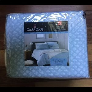 Cuddl duds queen flannel blue geo sheet set new!